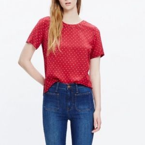 Madewell Red Silk Top